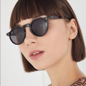 Urban Outfitters Black Ella Round Sunglasses